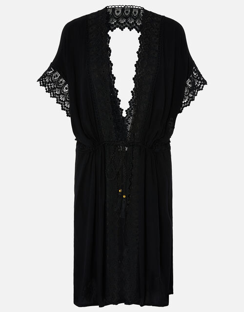 Lace Trim Kimono in LENZING™ ECOVERO™, Black (BLACK), large