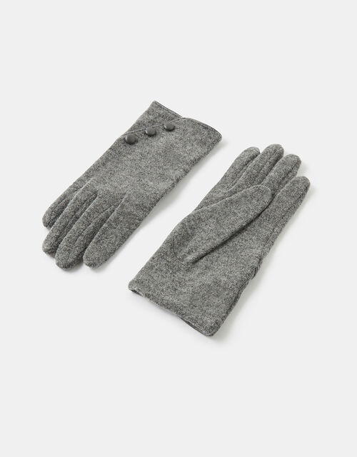 Button Gloves in Pure Wool, Grey (LIGHT GREY), large