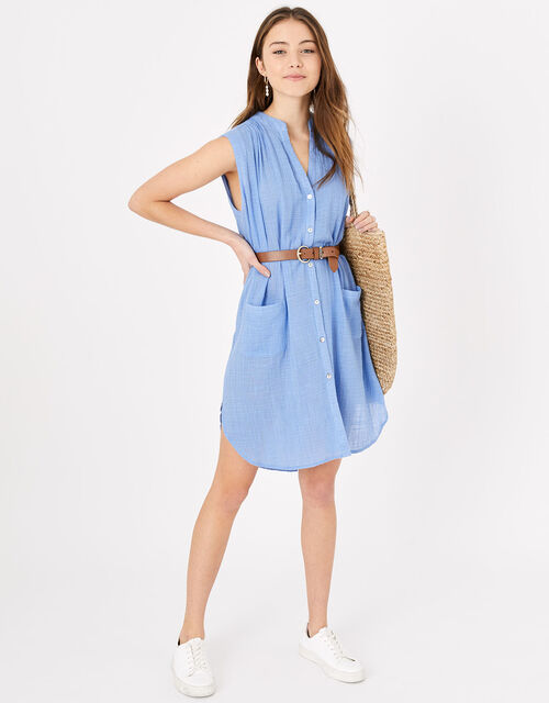 Relaxed Sleeveless Beach Shirt, Blue (BLUE), large