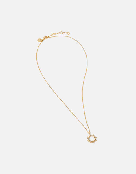 Gold-Plated Starburst Pendant Necklace, , large