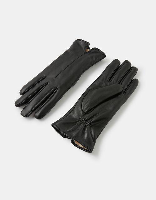 Faux Fur-Lined Leather Gloves, Black (BLACK), large