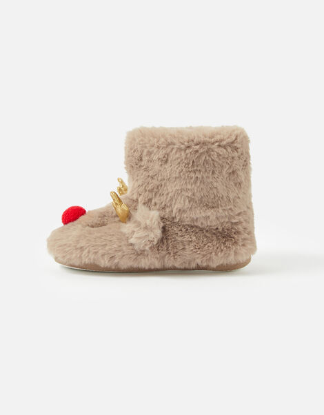 Girls Rudolph Fluffy Boot Slippers Brown, Brown (BROWN), large