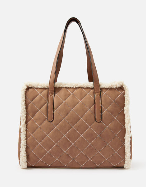 Faux Shearling Quilted Tote, , large