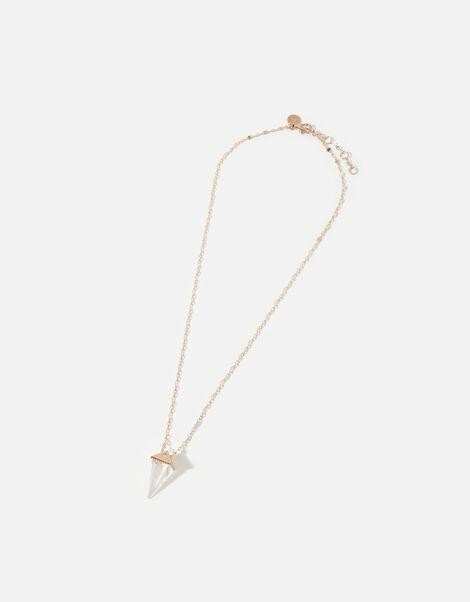 Rose-Gold Plated Clear Quartz Pendant Necklace, , large