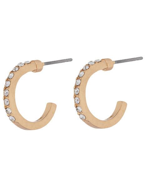 Crystal Huggie Hoop Earrings, White (CRYSTAL), large