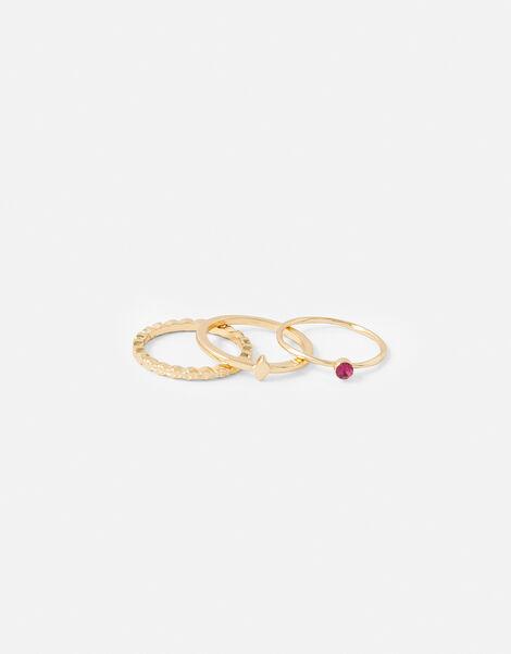 Pink Gem Stacking Ring Set Pink, Pink (PINK), large