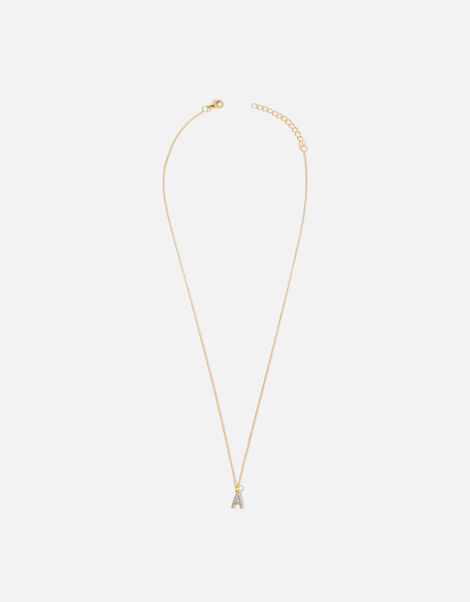 Gold Vermeil White Topaz Initial Necklace  Gold, Gold (GOLD), large
