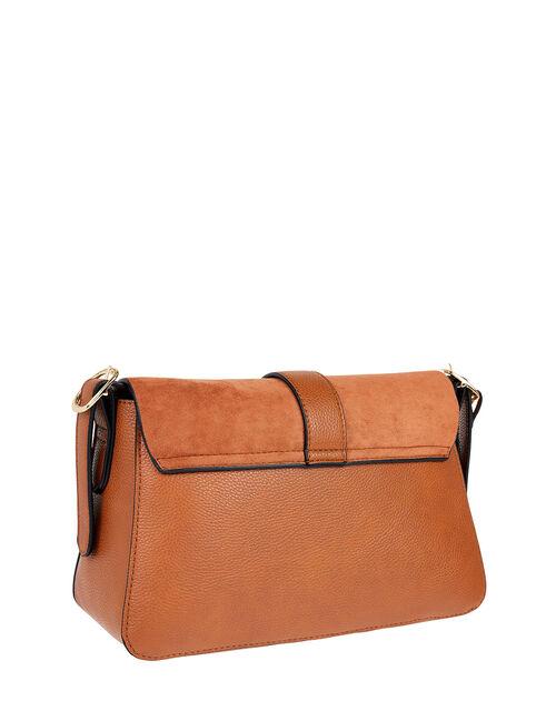 Millie Vegan Faux Padlock Shoulder Bag, Tan (TAN), large