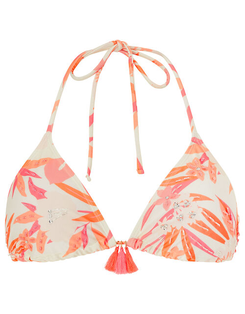 Embellished Floral Bikini Top with Recycled Polyester, Orange (CORAL), large