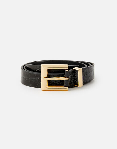 Croc Print Belt  Black, Black (BLACK), large
