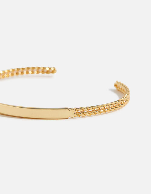 Gold-Plated Chain Cuff Bracelet, , large