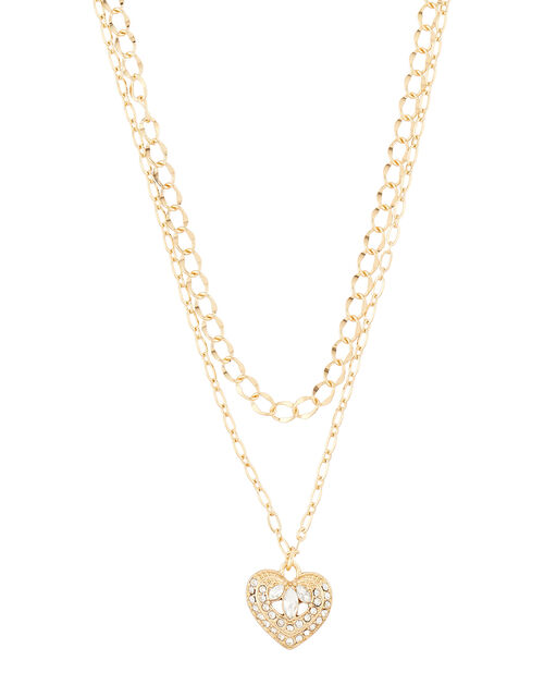 Layered Heart Pendant Necklace, , large