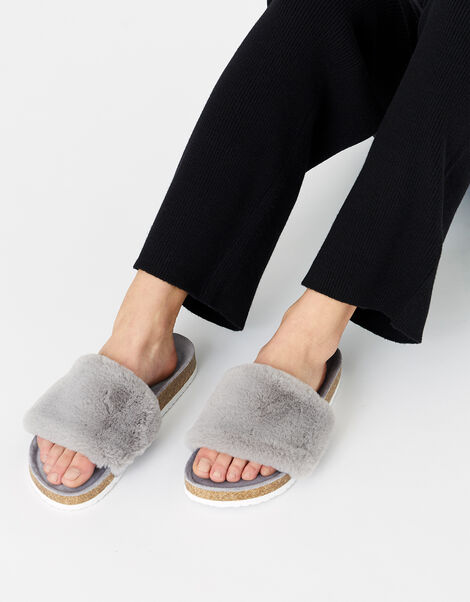 Symone Fluffy Slider Slippers Grey, Grey (GREY), large