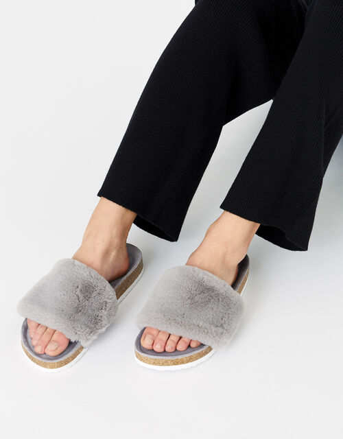 Symone Fluffy Slider Slippers, Grey (GREY), large
