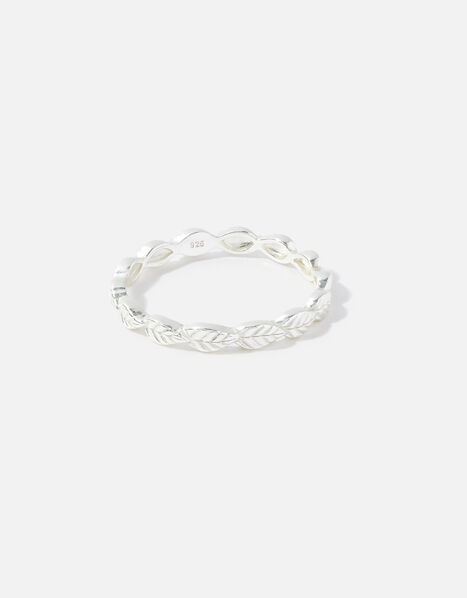 Sterling Silver Leaf Band Ring Silver, Silver (ST SILVER), large