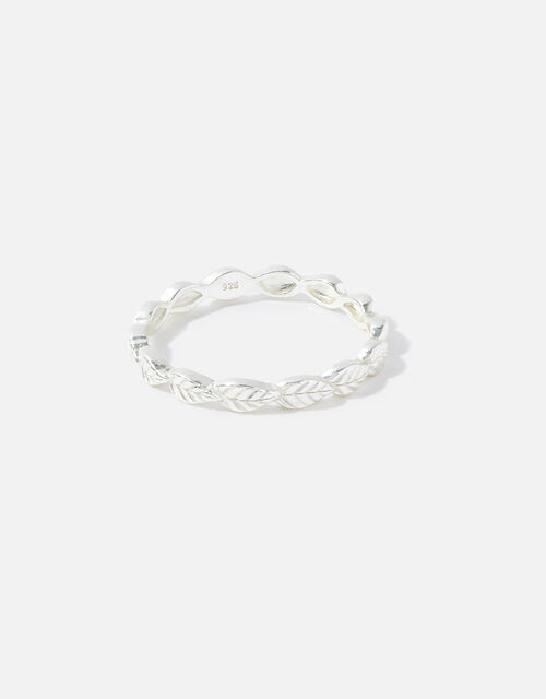 Sterling Silver Leaf Band Ring, Silver (ST SILVER), large