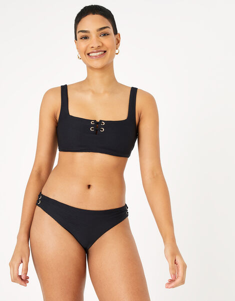 Eyelet Detail Bikini Crop Top Black, Black (BLACK), large