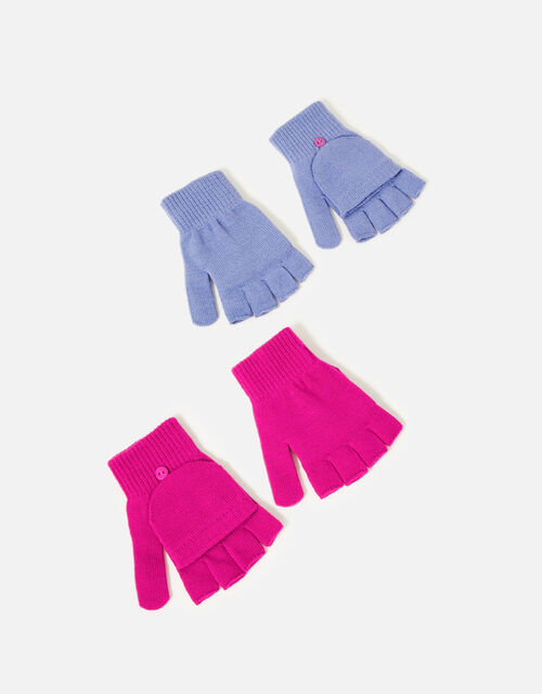 Girls Plain Capped Glove Set, Multi (BRIGHTS-MULTI), large