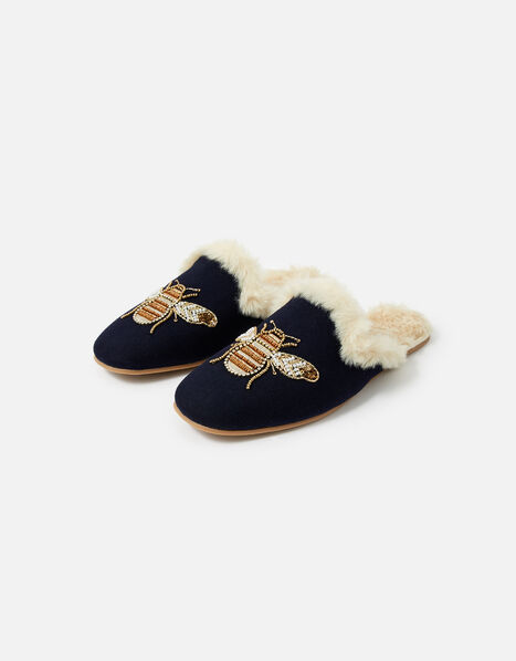 Bee Faux Fur Slippers WWF Collaboration Blue, Blue (NAVY), large