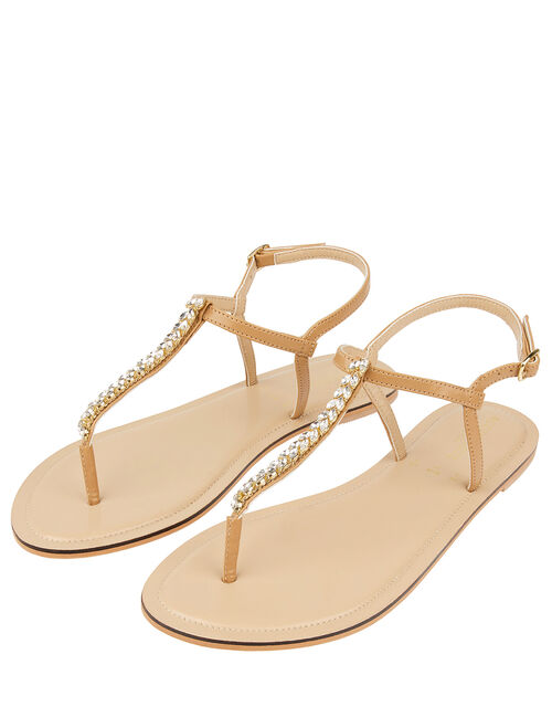 Nude Crystal Sandals, White (CRYSTAL), large