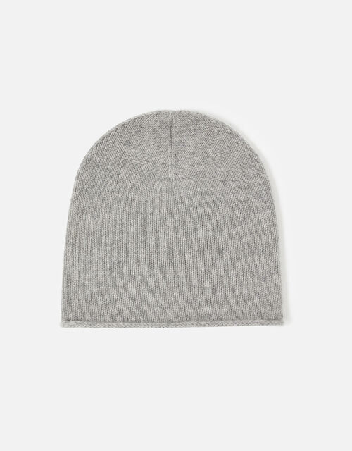 Knit Beanie in Cashmere, Grey (GREY), large