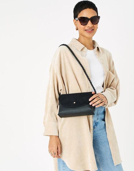 Pia Plaited Shoulder Bag  Black, Black (BLACK), large