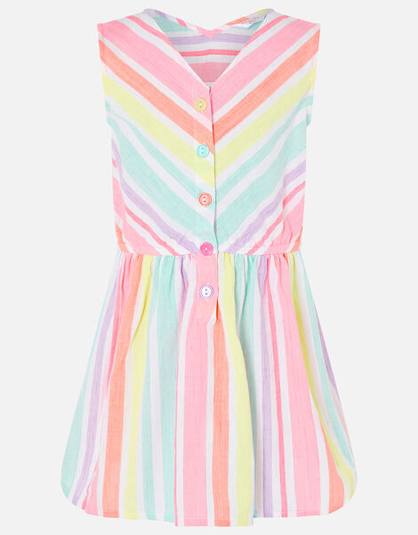 Rainbow Stripe Dress in Linen Blend Multi, Multi (BRIGHTS-MULTI), large