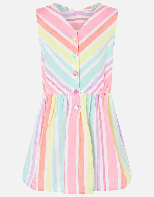 Rainbow Stripe Dress in Linen Blend, Multi (BRIGHTS-MULTI), large