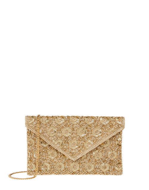 Tamara Embellished Clutch Bag, Gold (GOLD), large