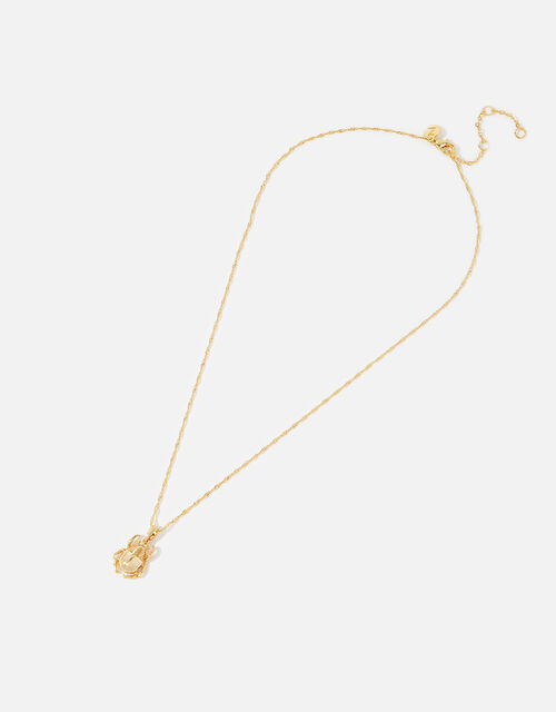 Gold-Plated Scarab Beetle Pendant Necklace, , large