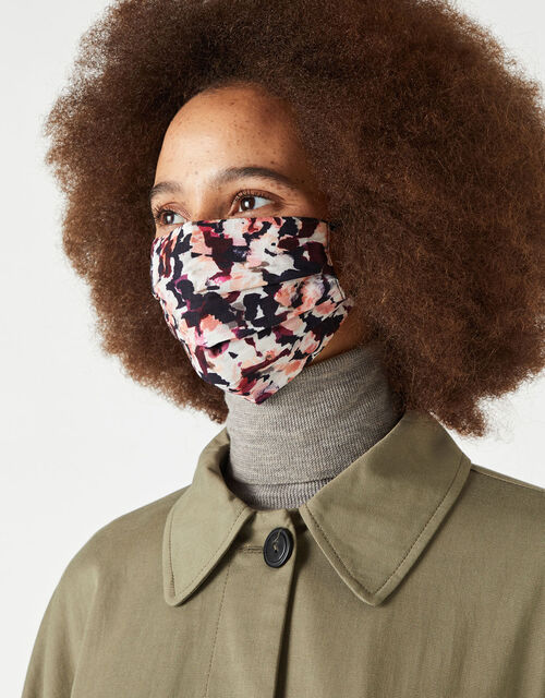 Petal Print Face Covering in Pure Cotton, , large