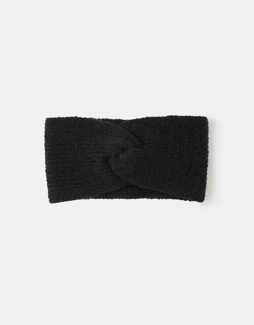 Knit Bando Headband, Black (BLACK), large