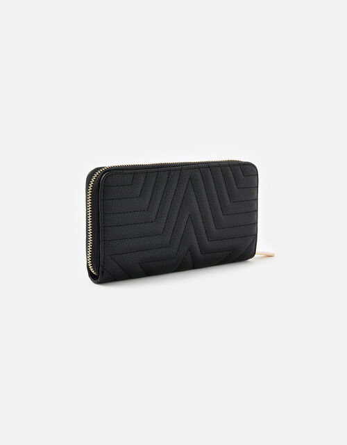 Star Quilted Purse, Black (BLACK), large
