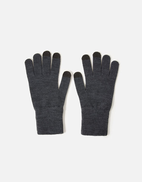 Long Cuff Touchscreen Gloves Grey, Grey (GREY), large