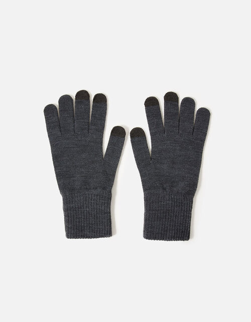 Long Cuff Touchscreen Gloves, Grey (GREY), large