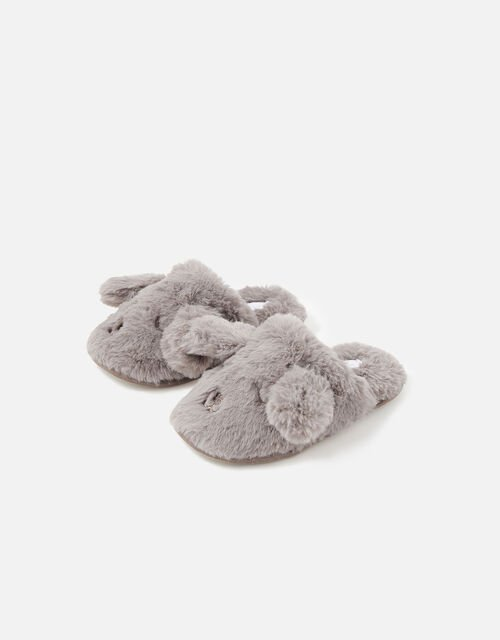 Girls Puppy Fluffy Mule Slippers, Mink (MINK), large
