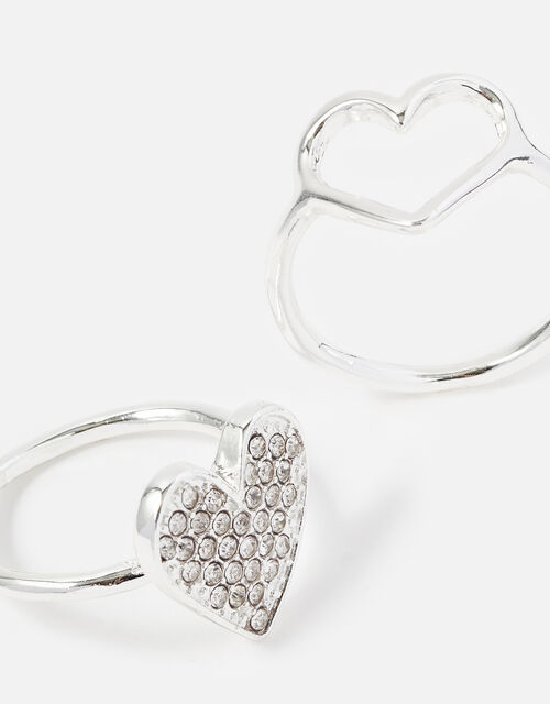 New Decadence Crystal Heart Ring Twinset , Silver (SILVER), large
