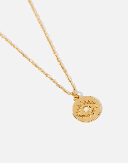 Gold-Plated Evil Eye Pendant Necklace , , large