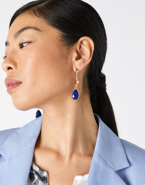 Chunky Lapis Drop Earrings, , large