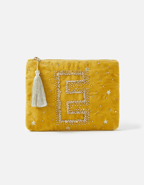 Initial Pouch Bag, Yellow (OCHRE), large