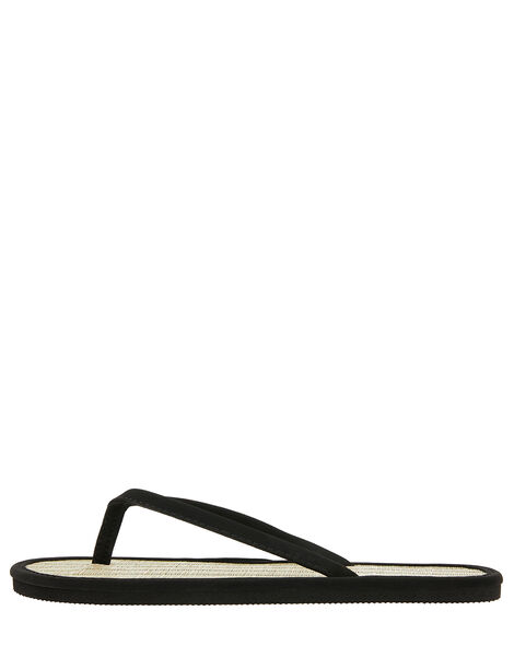 Plain Seagrass Flip Flops Black, Black (BLACK), large