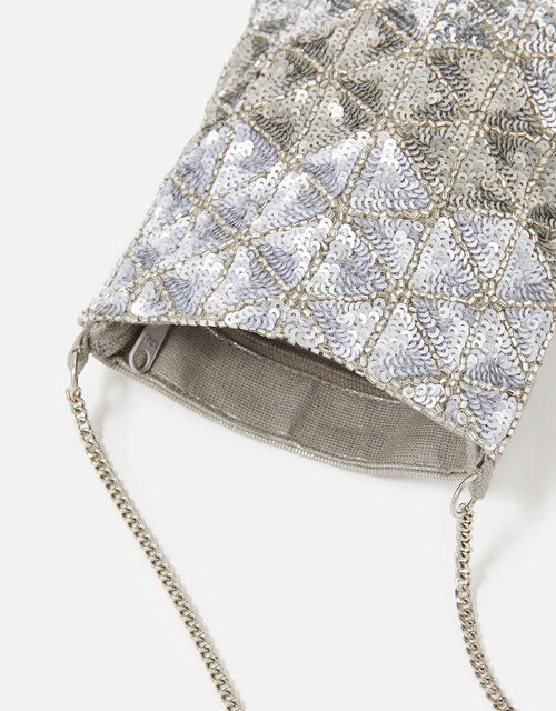 Sequin Phone Pouch Bag, , large