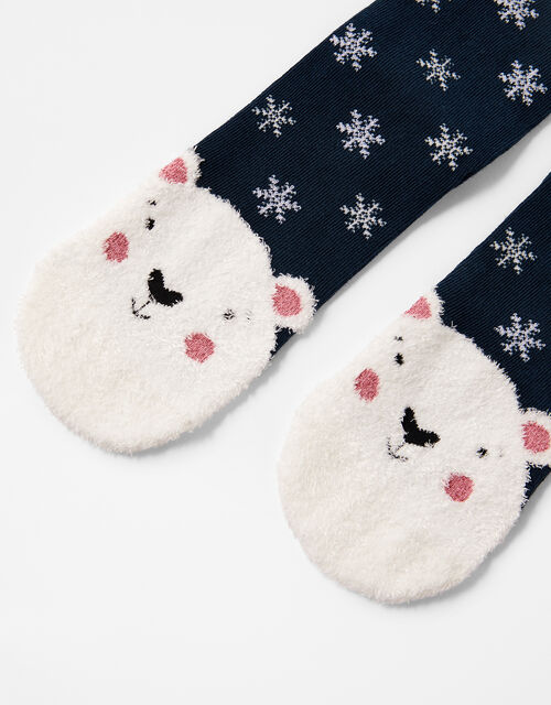 Polar Bear Fluffy Christmas Socks, , large