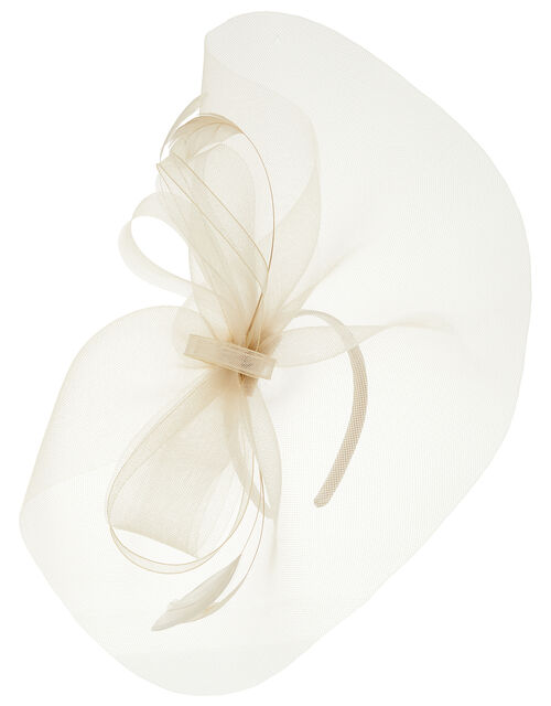 Rhea Oversized Bow Fascinator Headband, Natural (CHAMPAGNE), large