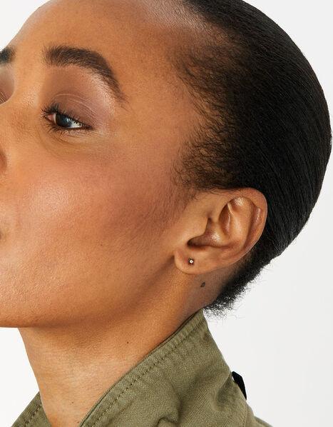 Gold Vermeil White Topaz Star Stud Earrings, , large