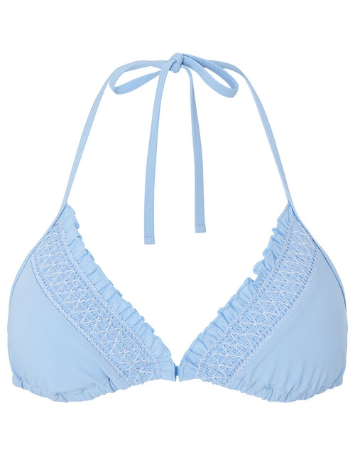 Smock Detail Triangle Bikini Top, Blue (BLUE), large