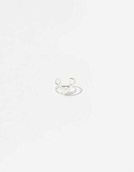 Sterling Silver Heart Ear Cuff, , large