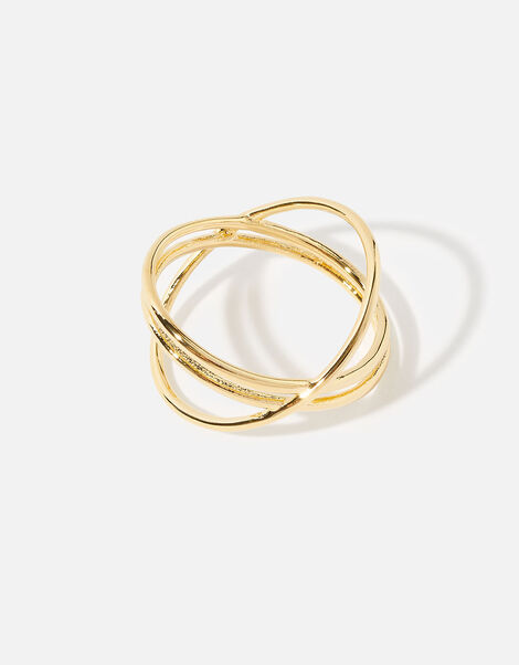 Gold-Plated Double Kiss Ring Gold, Gold (GOLD), large