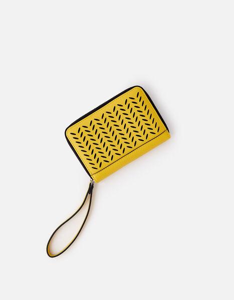 Cut-Out Pattern Zip Wallet Yellow, Yellow (YELLOW), large
