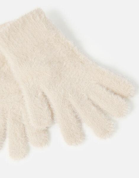 Super-Stretch Fluffy Knit Gloves Natural, Natural (NATURAL), large